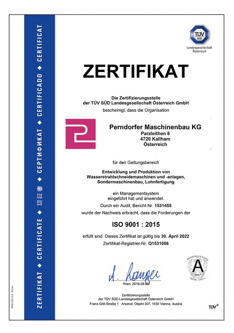 ISO Zertifikat Entwicklung und Produktion von Wasserstrahlschneidemaschinen, Lohnfertigung und Sondermaschinenbau